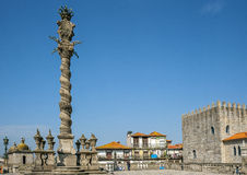 Portugal, Porto, geschnitzter schimpflicher Steinpillory für Bestrafung Stockbild