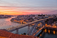 Portugal, Porto. Luis I Bridge on a sunset, the top view royalty free stock image