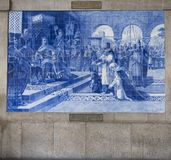 Portugal, porto: old railway station, azulejos Royalty Free Stock Photography