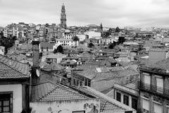 Portugal. Porto stad. Mening van Douro-rivierdijk in zwarte a royalty-vrije stock fotografie