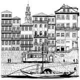 Portugal, Porto velho e barco tradicional ilustração royalty free