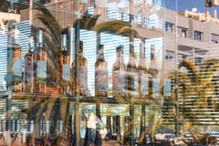 Portugal, Porto, the window pane with reflections. Portugal, Porto, the window pane of a wine shop and restaurant with buildings and palm reflections. Colorful Stock Photos
