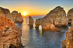 Portugal. Praia de Albandeira - beautiful coast of Algarve at sunset, Portugal stock photos