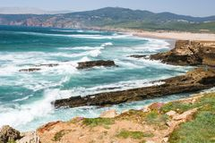 Portugal, Praia do Guincho. The beach, is popular for surfing, windsurfing, and kitesurfing. Strong northern winds are predominant during summer time stock images