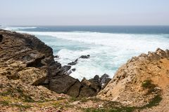Portugal, Praia do Guincho. The beach, is popular for surfing, windsurfing, and kitesurfing. Strong northern winds are predominant during summer time stock photo