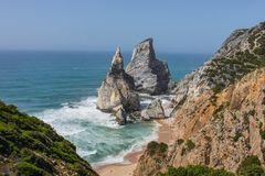 Portugal rocks and beach royalty free stock photo
