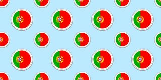 Portugal round flag seamless pattern. Portuguese background. Vector circle icons. Geometric symbols. Texture for sports pages, com vector illustration
