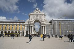 Portugal. Rua Augusta and Arco da Vitoria in Lisbon, Portugal Royalty Free Stock Photography