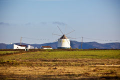 Portugal Rural Landscape with Old Windmill Stock Images