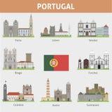 Portugal. Símbolos de ciudades ilustración del vector