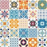 Portugal sömlös modell Textur för keramisk tegelplatta för tappning medelhavs- Geometriska tegelplattamodeller och väggtrycktextu vektor illustrationer