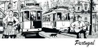 Portugal - sammansättning på stad av Lissabon Royaltyfri Bild