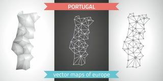 Portugal-Satz Grau und polygonale Karten des Silbermosaiks 3d Stockbilder