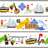 Portugal seamless borders. Portuguese national traditional symbols and objects Royalty Free Stock Photos