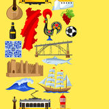 Portugal seamless pattern. Portuguese national traditional symbols and objects Royalty Free Stock Images