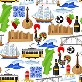 Portugal seamless pattern. Portuguese national traditional symbols and objects Royalty Free Stock Image