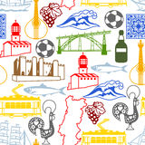 Portugal seamless pattern. Portuguese national traditional symbols and objects Stock Photos