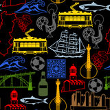 Portugal seamless pattern. Portuguese national traditional symbols and objects Stock Image