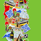 Portugal seamless pattern with stickers. Portuguese national traditional symbols and objects Royalty Free Stock Photography