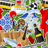 Portugal seamless pattern with stickers. Portuguese national traditional symbols and objects Stock Photo