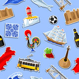Portugal seamless pattern with stickers. Portuguese national traditional symbols and objects Stock Photography