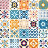 Portugal seamless pattern. Vintage mediterranean ceramic tile texture. Geometric tiles patterns and wall print textures vector illustration