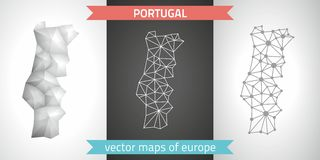 Portugal set of grey and silver mosaic 3d polygonal maps Stock Images