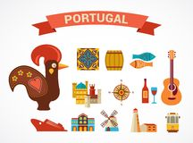 Portugal - set of vector icons. Portugal -  vector icons and illustration, tourism and travel concept Stock Photos