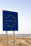 Portugal sign at border crossing Spain - Portugal Stock Images