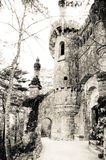 Portugal. Sintra.Quinta da regaleira tower (sepia) stock image