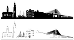 Portugal skyline silhouettes, vector illustration royalty free illustration