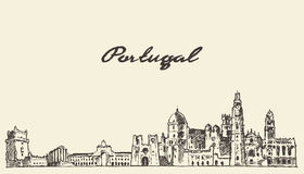 Portugal skyline vector illustration drawn sketch Royalty Free Stock Photos