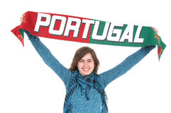 Portugal Soccer fan, isolated on white background Royalty Free Stock Image