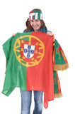Portugal Soccer fan, isolated on white background Stock Photo