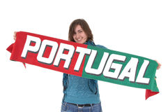 Portugal Soccer fan, isolated on white background Royalty Free Stock Images