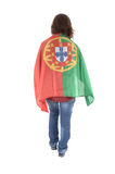 Portugal Soccer fan, isolated on white background stock images