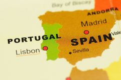 Portugal and Spain on Map. Close up of Portugal and Spain on Map Royalty Free Stock Photo