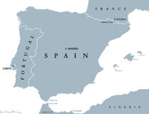 Portugal and Spain political map Stock Photos