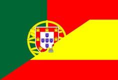 Portugal Spanien flagga Royaltyfria Bilder