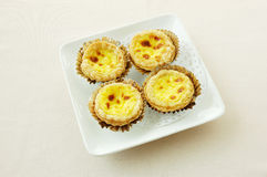 Portugal style baked egg tarts. Chinese dessert. . Portugal style baked egg tarts Stock Photography