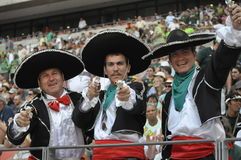 The Portugal supporters. These three drifters was dress in Portugal traditional style to show their support for portugal.This was Sevens rugby in port Elizabeth Stock Photos