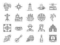 Portugal symbolsuppsättning Inklusive symboler som portugis, Lissabon, Cristo rei, Belem, den Barcelos tuppen, lopp och mer royaltyfri illustrationer