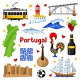 Portugal symbolsuppsättning Portugisiska nationella traditionella symboler och objekt royaltyfri illustrationer