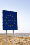 Portugal tecken på gränsövergången Spanien - Portugal Arkivbilder