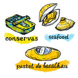 Portugal traditional fish and seafood icons Stock Image