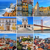 Portugal travel collage: top cities and landmarks Royalty Free Stock Images