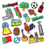 Portugal Travel Elements with Architecture. For Badges, Stickers, Prints. Vector Doodle Royalty Free Stock Images