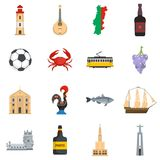 Portugal travel icons set vector flat. Portugal travel icons set. Flat illustration of 16 Portugal travel vector icons isolated on white background Vector Illustration