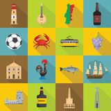 Portugal travel icons set, flat style Stock Images
