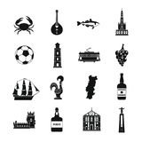 Portugal travel icons set, simple style Stock Photo